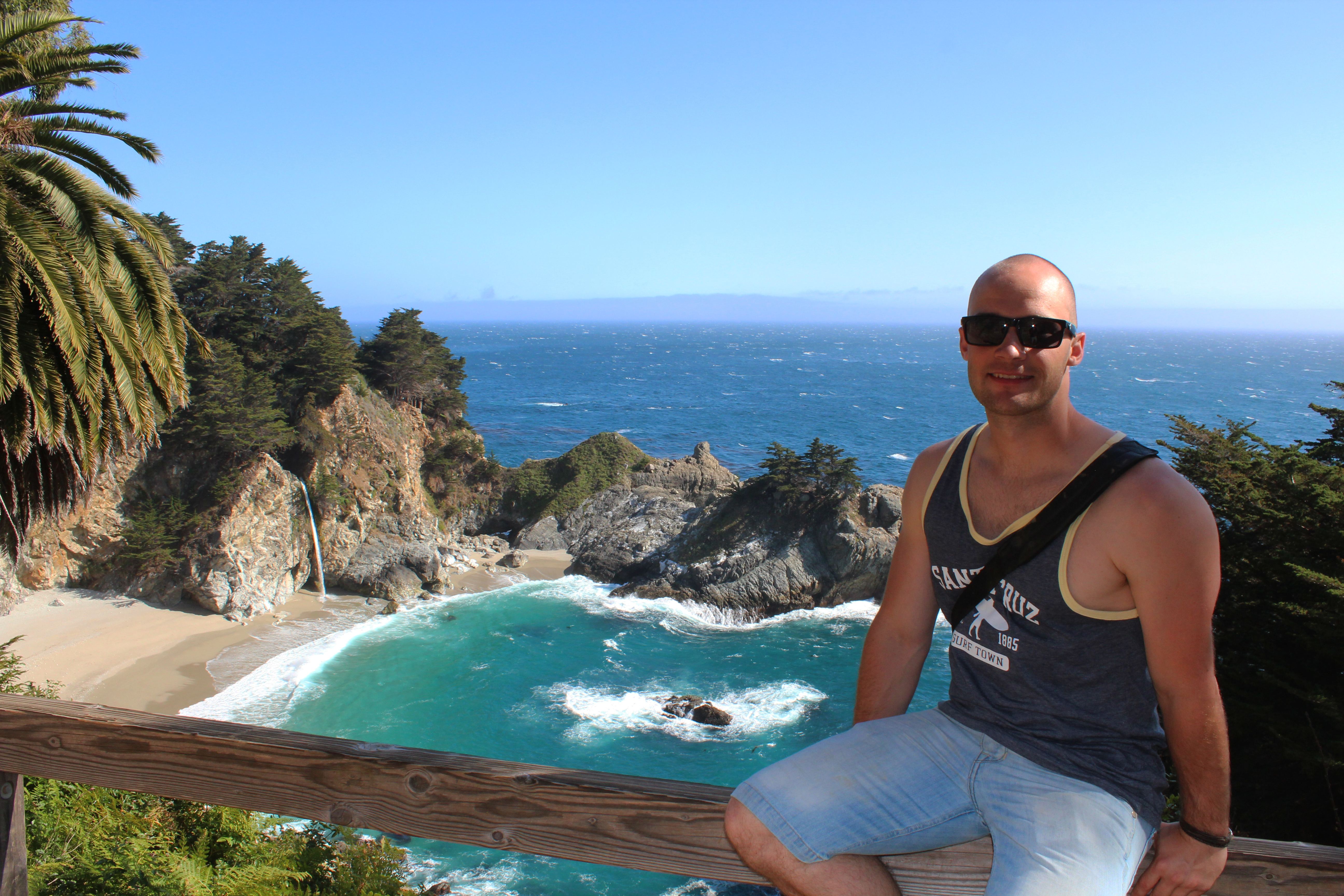 Dennis Asp at McWay Falls, West Coast Roadtrip