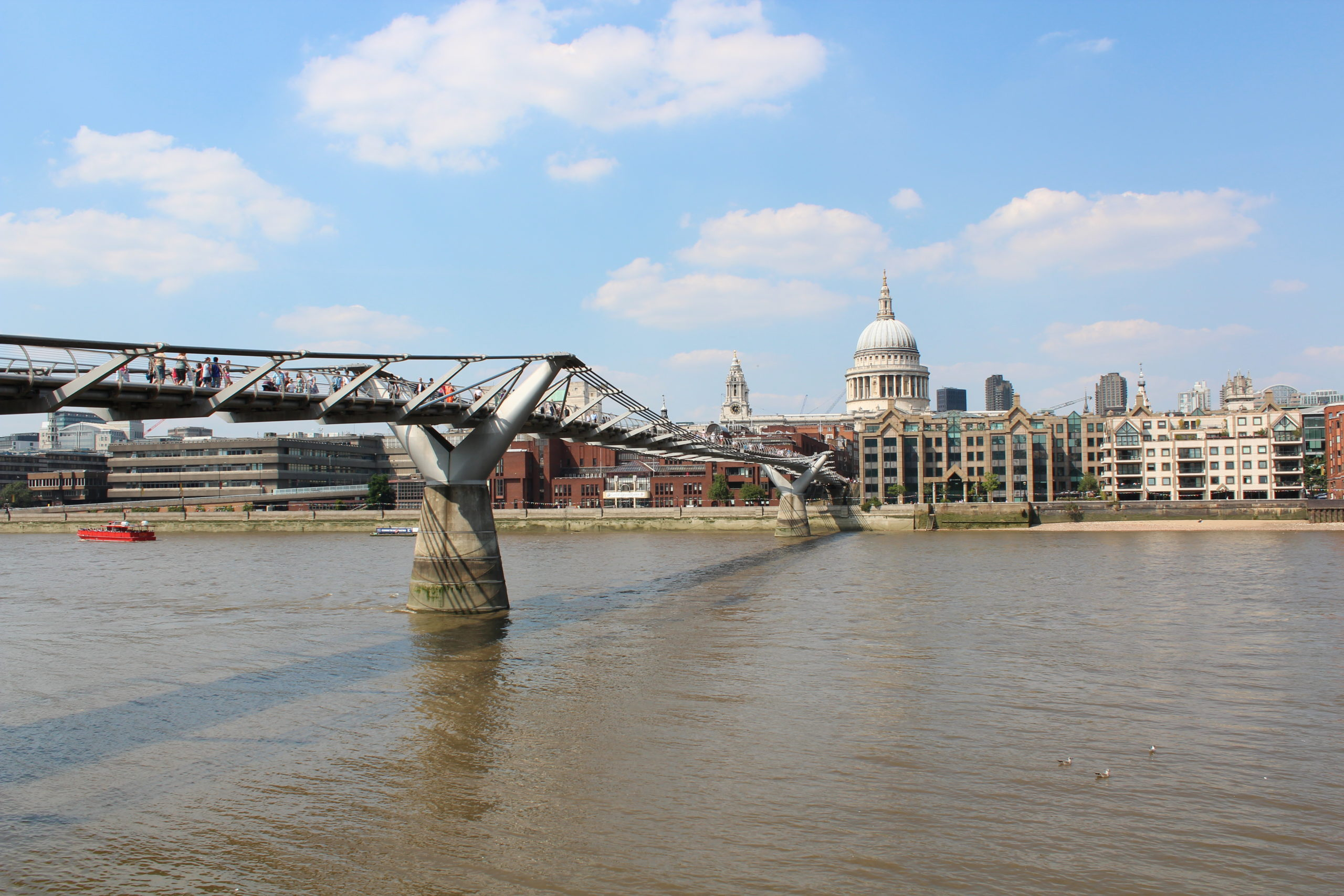 Millennium Footbridge over Themsen til St. Pauls Cathedral